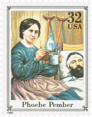 United States postage stamp, 1995, honoring Phoebe Pember.