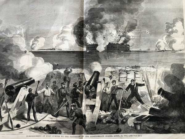 A Confederate battery firing on Fort Sumter, April 12, 1861.