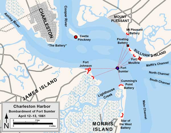 Charleston Harbor, Fort Sumter, Confederate Batteries, April, 1861.