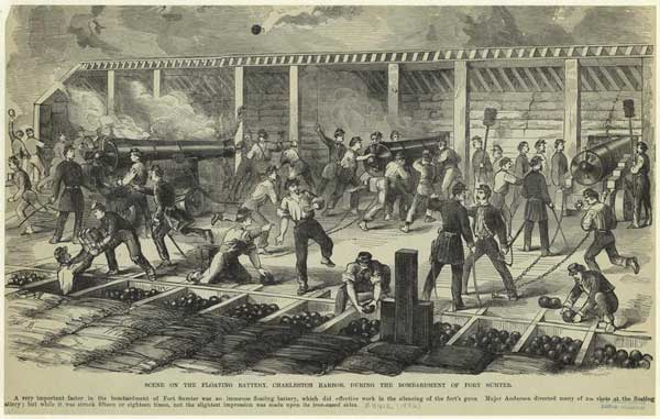 Action inside the Confederate Floating Battery.