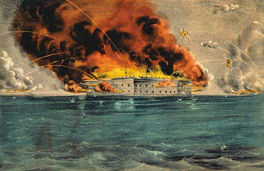 Fort Sumter on fire.