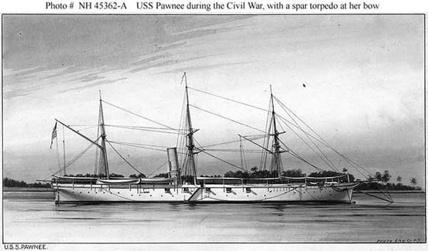U.S.S. Pawnee, one of three ships Lincoln sent to Charleston to start the war.