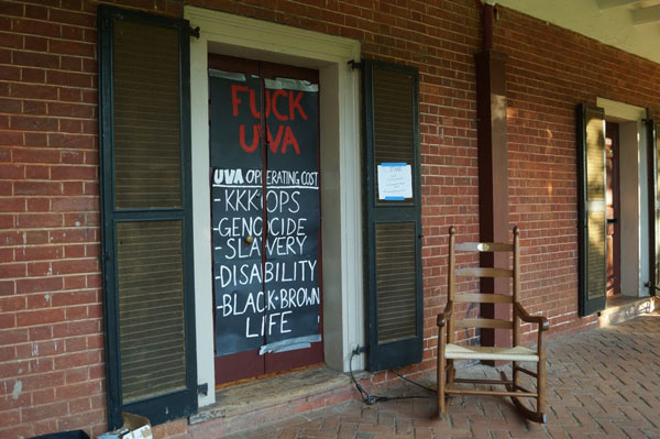Hira Azher's dorm room door at UVA. Photo by Sophie Roehse | The Cavalier Daily.