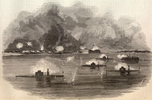 Bombardment of Battery Wagner by Monitors and ships off shore.