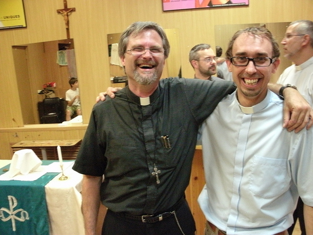 Caption on Larry's Travels in Lutheran Siberia: Father Vlad (right) and I finally meet in Chelyabinsk.