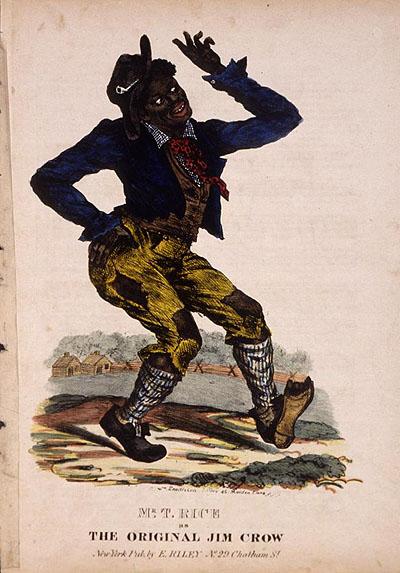 Thomas D. Rice, the original Jim Crow, in costume.