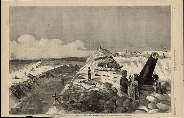"""Harper's Weekly, Sept. 26, 1863, caption: """". . . View from the sea-face of Fort Wagner. . ."""""""