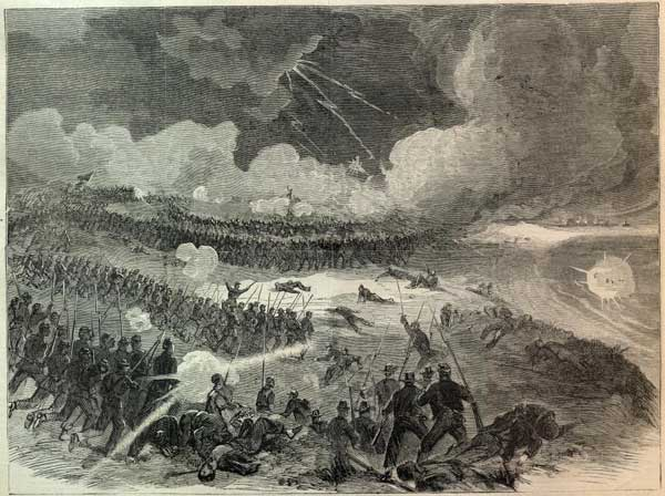 Union attack on Battery Wagner in Harper's Weekly, Aug. 8, 1863.