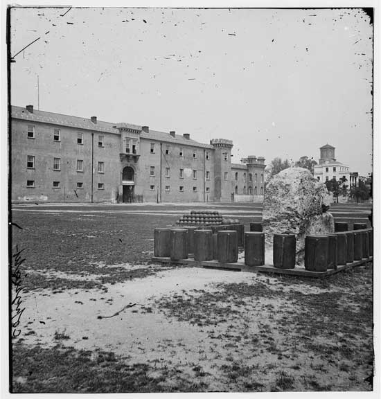 The Citadel in 1865 on Citadel Green, today's Marion Square. It's now an Embassy Suites.